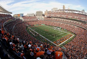Field and seats of Paul Brown Stadium where the Cincinnati Bengals play their home games.