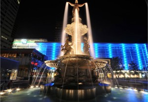The fountain at Fountain Square.