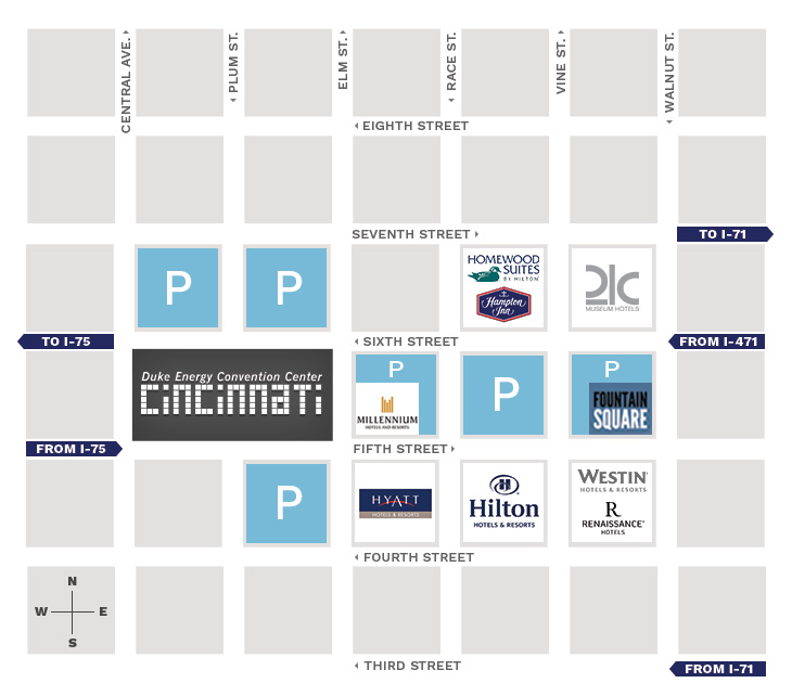 Map of parking places surrounding the Duke Energy Convention Center